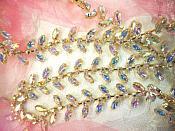 """(REMNANT 16"""") Gold Setting Crystal AB Aurora Borealis Rhinestone Leaf Vine Trim (RMXR115)"""