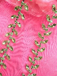 "RMXR115 (6"" REMNANT) Light Green Rhinestone Leaf Vine Trim"