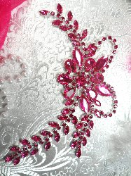 XR119 Crystal Rhinestone Fuchsia Applique Embellishment 7.5""