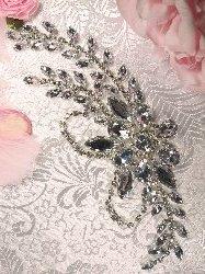 """XR119  Silver Crystal Clear Rhinestone Applique Embellishment 7.5"""""""