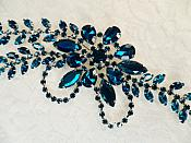 "Turquoise Rhinestone Applique Silver Backing Embellishment 7.5"" (XR119)"