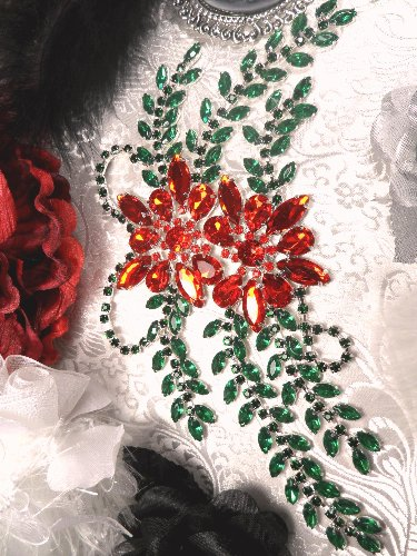"""XR126 Red Green Rhinestone Embellishment Applique 9"""" with Silver Backing"""