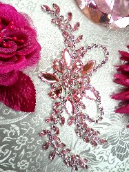 "XR127 Crystal Rhinestone Pink Ice Applique Embellishment 7.5"""