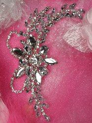 """XR127 Silver Crystal Clear Rhinestone Applique Embellishment 7.5"""""""