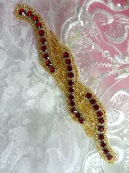 XR129 Red Rhinestone Gold Beaded Applique 4.75""
