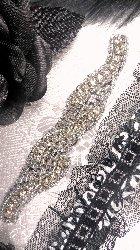 """XR129 Black Backing Silver Beaded Crystal Rhinestone Applique 4.75"""""""