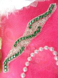 """XR129 Green Crystal Rhinestone  Silver Beaded Applique 4.75"""""""