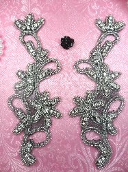 XR132 Black Backing Appliques Floral Silver Beaded Mirror Pair Crystal Rhinestone 7""
