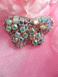 XR133 Black Backing Aurora Borealis Butterfly Bow Silver Beaded Crystal AB Rhinestone Applique 1.75""