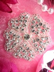 "XR282 Heart Clover Floral Glass Silver Beaded Crystal Rhinestone Applique 2.5"" Hot Fix Iron on"