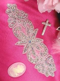 "XR14  Priscilla Aurora Borealis Crystal AB Beaded Rhinestone Applique 7.5"""