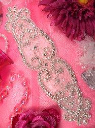 """XR142  Bridal Sash Silver Beaded Crystal Rhinestone Applique 9"""""""