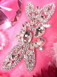 """XR143 Silver Crystal Rhinestone Applique Embellishment 5.75"""""""