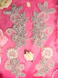 XR147  Floral Mirror Pair Silver Beaded Crystal Rhinestone Appliques W/ Pearls 9""