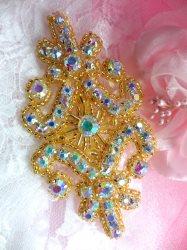 """XR15 Aurora Borealis Crystal AB Rhinestone Gold Beaded Applique 4"""""""