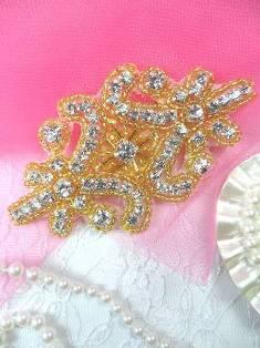"""XR15 Gold Beaded Crystal Rhinestone Applique 4"""""""