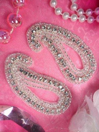XR153  Paisley Mirror Pair Silver Beaded Crystal Rhinestone Appliques 3""