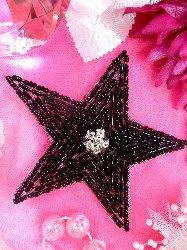 """XR154  Black Star Beaded Rhinestone Applique 3.75"""""""