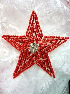 """XR154 Beaded Rhinestone Applique Red Star 3.75"""""""
