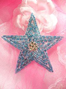 "XR154 Beaded Rhinestone Applique Turquoise Star 3.75"""