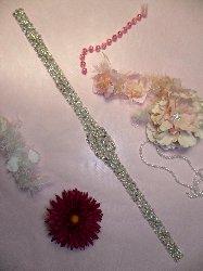 "XR155 Aurora Borealis Bridal Sash Crystal AB Rhinestone Applique Silver Beaded 27"""