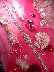 """XR155 Bridal Sash Crystal Rhinestone Applique Silver Beaded 27"""""""