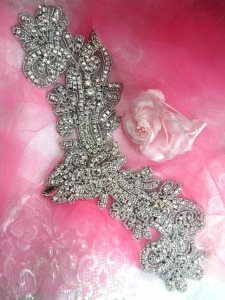 XR157 Black Backing Applique Crystal Rhinestone Silver Beaded 13""