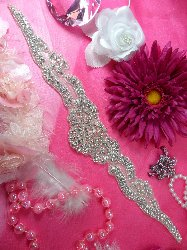 XR158 Sash Crystal Clear Silver Beaded Rhinestone Applique 15""