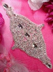 """XR159 Bridal Sash Silver Beaded Crystal Rhinestone Applique 7.5"""""""
