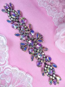 XR163 Black Backing Aurora Borealis Crystal AB Rhinestone Applique Embellishment 8""