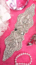 """XR164 Bridal Sash Crystal Rhinestone Applique Silver Beaded 9"""""""