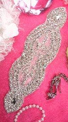"""XR165 Bridal Sash Crystal Rhinestone Applique Silver Beaded 9"""""""