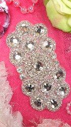 """XR166 Bridal Sash Crystal Rhinestone Applique Silver Beaded 7"""""""