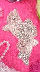"XR168 Crystal Rhinestone Applique Silver Beaded Pearl Floral  5.75"""