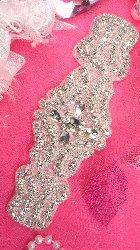 """XR169 Bridal Sash Crystal Rhinestone Applique Silver Beaded 6.5"""""""