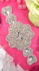 """XR170 Bridal Sash Crystal Rhinestone Applique Silver Beaded 7"""""""