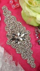 """XR171 Bridal Sash Crystal Rhinestone Applique Silver Beaded 7.5"""""""
