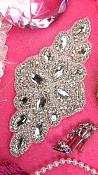 "REDUCED Bridal Sash Crystal Rhinestone Applique Silver Beaded 7"" (RMXR172)"