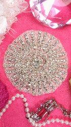 """XR173 Crystal Rhinestone Applique Silver Beaded 4"""""""