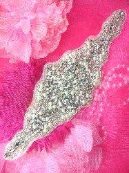 """XR187 Bridal Motif Silver Crystal Clear Rhinestone Applique w/ Pearls 10"""""""