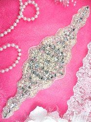 """XR193 Bridal Motif Silver Crystal Clear Rhinestone Applique w/ Pearls 10"""""""
