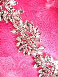 """XR196 Marquise Swirl Rhinestone Pre-cut Trim Glass Crystal Embellishing Trim 1.5"""""""