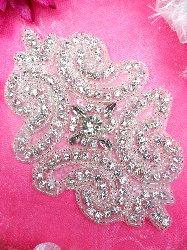 """XR197  Applique Crystal Clear Glass Rhinestone Silver Beaded 5"""""""