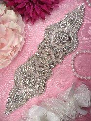 """XR203 Bridal Sash Crystal Rhinestone Applique Silver Beaded 10.5"""""""