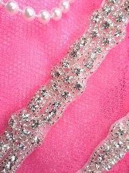 XR204  Crystal Clear Glass Rhinestone Trim Silver Beaded Floral