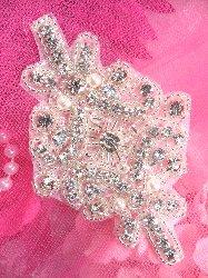 """XR208 Pearl Crystal Glass Rhinestone Applique Silver Beaded  4"""""""