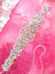 """XR215 Bridal Sash Motif Silver Crystal Clear Glass Rhinestone Applique with Pearls 11"""""""