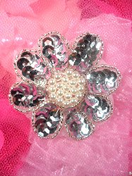 XR223 Silver Sequin Beaded Floral Pearl Centered Applique 2.5""