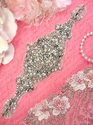 """XR225 Bridal Motif Silver Crystal Clear Rhinestone Applique w/ Pearls 10"""""""