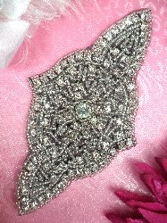 "XR23 Black Backing Applique Designer Silver Beaded Crystal Rhinestone 5"""